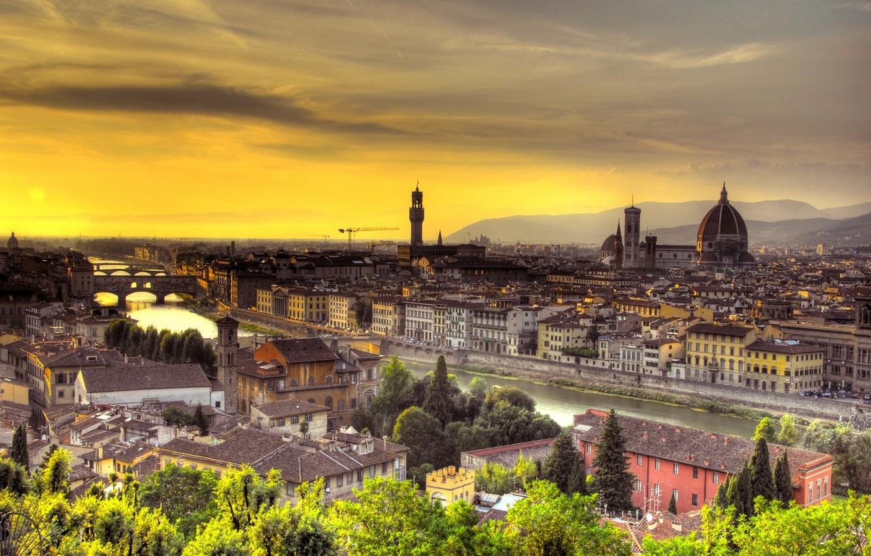 Фото обои закат, Италия, Флоренция, Italy, Sunset, Florence