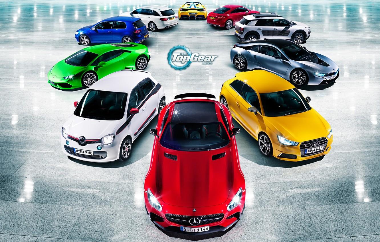 Фото обои Audi, Mercedes-Benz, Lamborghini, BMW, Volkswagen, Renault, Top Gear, Ferrari, Citroen, Red, Blue, Green, White, Yellow, …