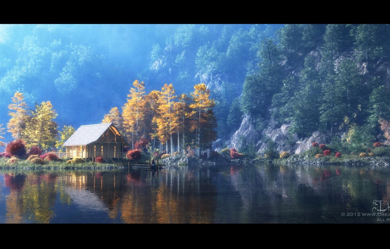 Фото обои горы, озеро, берег, человек, причал, домик, A Little Place of My Own