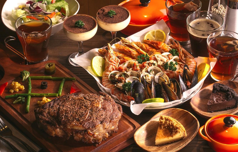 Фото обои чай, торт, мясо, десерт, шашлык, креветки, морепродукты, блюда, ассорти, моллюски