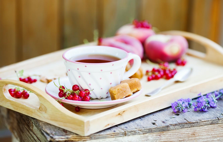 Фото обои чай, red, пирожное, фрукты, красная, персики, cake, смородина, выпечка, fruit, сладкое, sweets, tea, peaches, currant, …