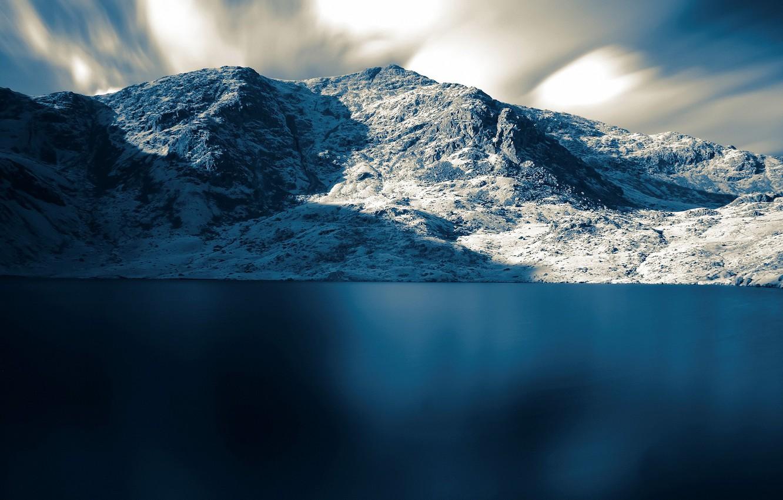 Фото обои море, снег, горы