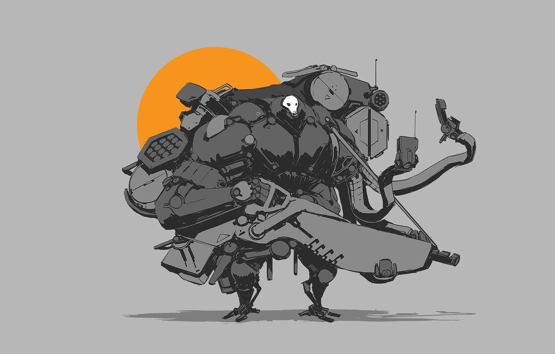 Фото обои солнце, оружие, робот, пушки, guns, киборг, Robot, sun, cyborg
