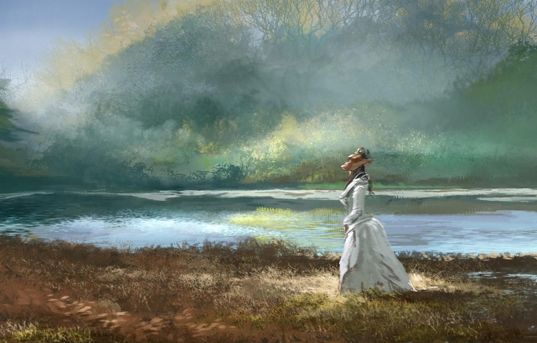 Фото обои лес, трава, девушка, озеро, шляпа, платье, арт, прогулка