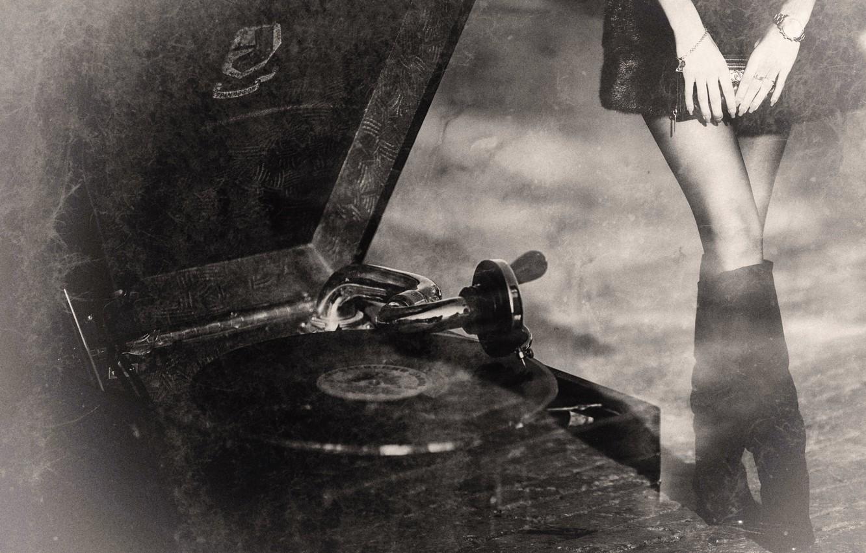 Фото обои ретро, граммофон, винтаж, old records