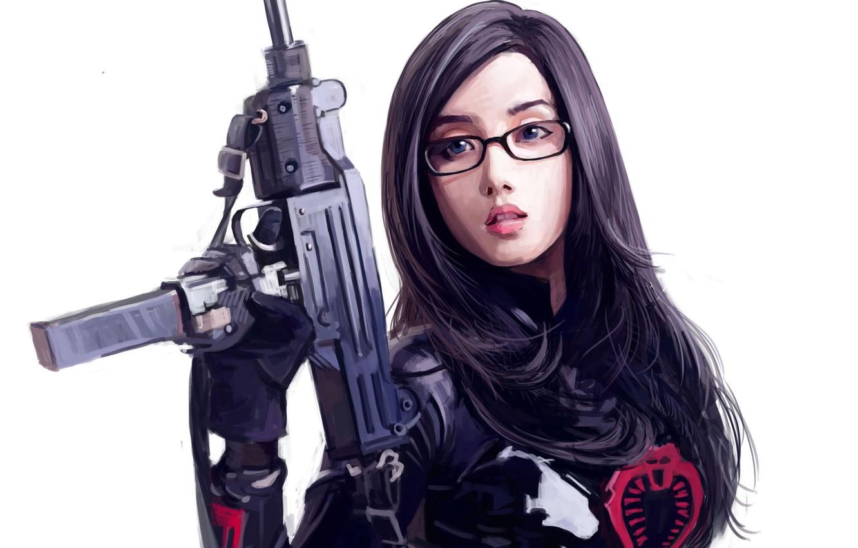 Фото обои девушка, оружие, арт, очки, белый фон, азиатка, Dtoxin