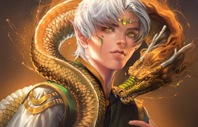 Фото обои глаза, дракон, эльф, чешуя, желтые, рога, парень, sakimichan