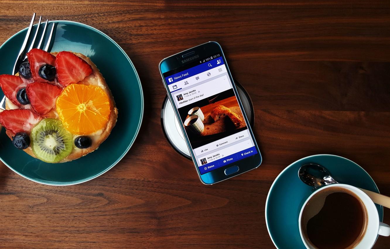 Фото обои Android, Galaxy, Coffee, Samsung, Fruit, 2015, Smartphone, Food