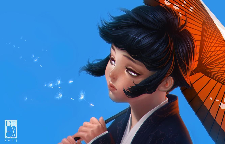 Фото обои небо, девушка, зонтик, одуванчик, ветер, зонт, арт, Naruto, парашютики, Hyuuga, Hinata, Antonio De Luca
