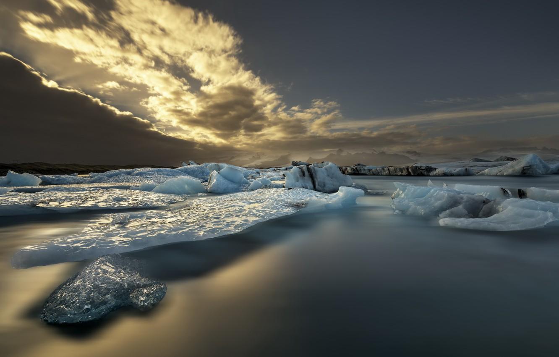 Фото обои море, небо, лёд