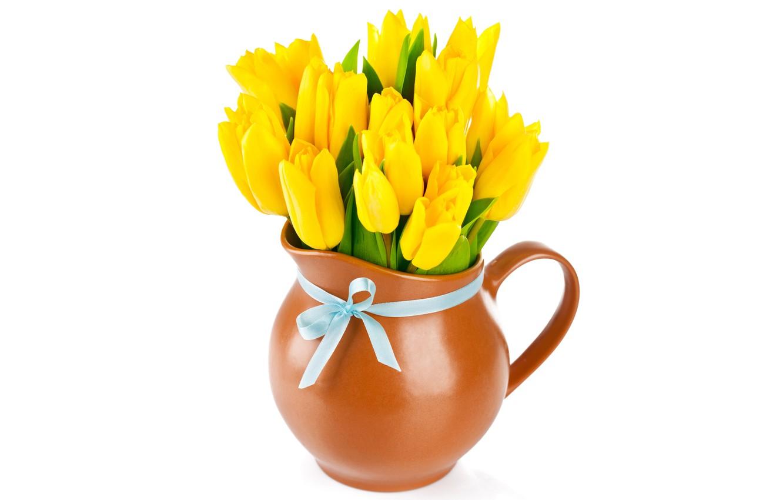 Фото обои букет, желтые, тюльпаны, кувшин, бант, flowers, tulips