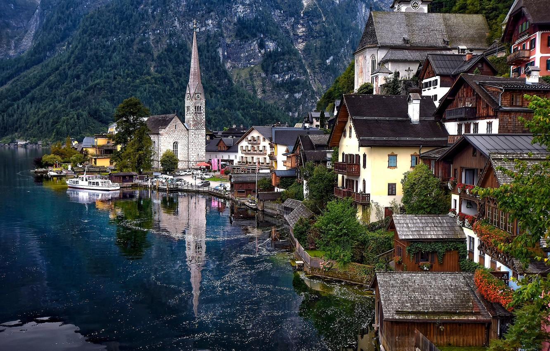 Обои австрия, дома, альпы, гальштат, hallstatt, austria. Города foto 9