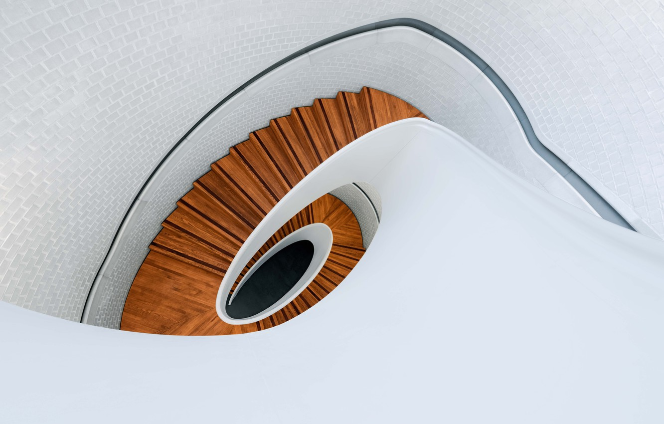 Фото обои wood, spiral, staircase, architecture, stairs