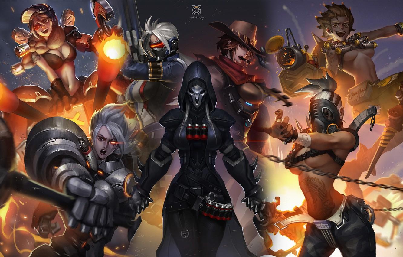 Фото обои Blizzard, art, Overwatch, female characters, genderbend