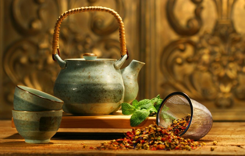 Фото обои чайник, мята, аромат, добавки, Asian tea