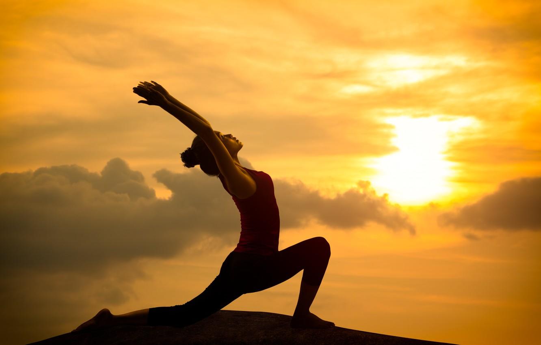 Фото обои light, orange, pose, yoga