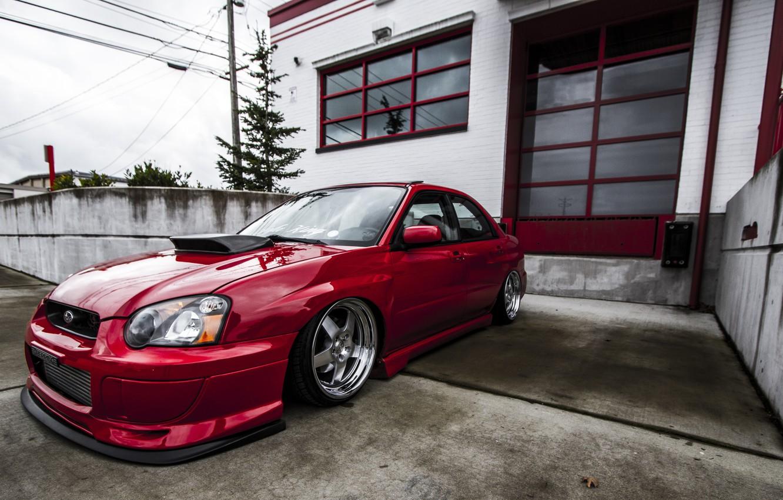 Фото обои Subaru, Impreza, WRX, Red, STI, JDM, Chrome, Wheels