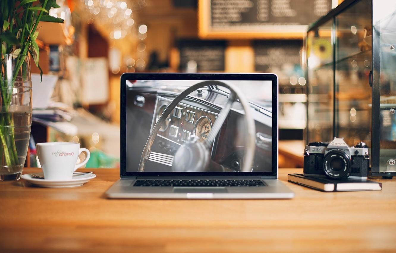 Фото обои apple, интерьер, canon, macbook pro