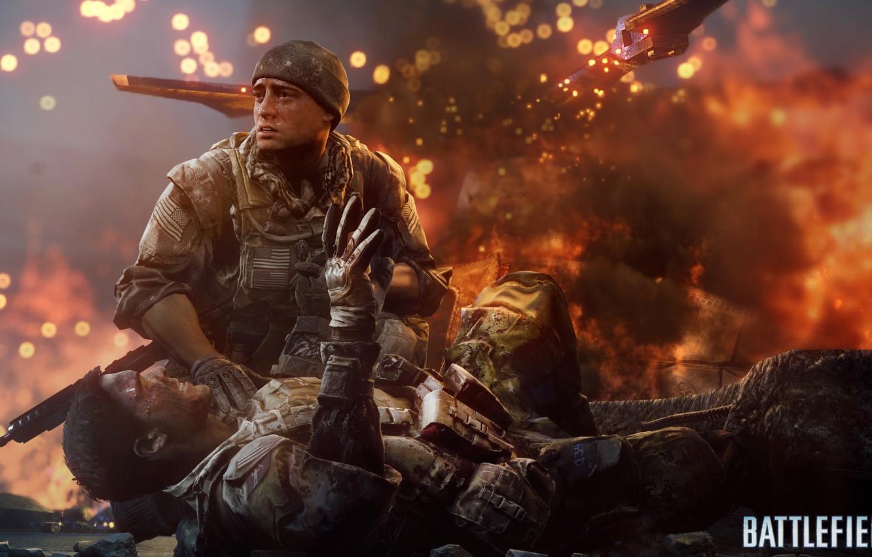 Фото обои солдат, плита, вертолет, Battlefield 4