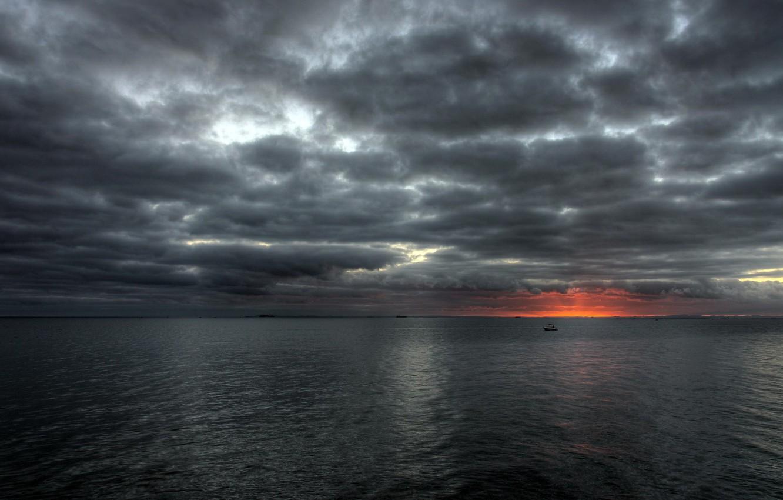 Фото обои море, небо, солнце, закат