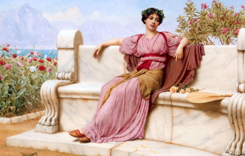 Фото обои девушка, рисунок, картина, сидит, John William Godward