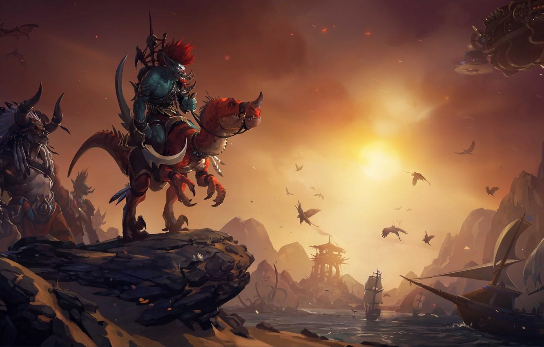 Фото обои закат, птицы, корабли, ящер, wow, world of warcraft, таурен, тролль, Troll, вождь, Орда, tauren, warchief, …