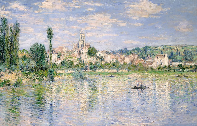 Фото обои пейзаж, река, лодка, картина, Клод Моне, Ветёй Летом