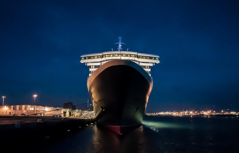Фото обои ночь, порт, France, Le Havre, QUEEN MARY 2