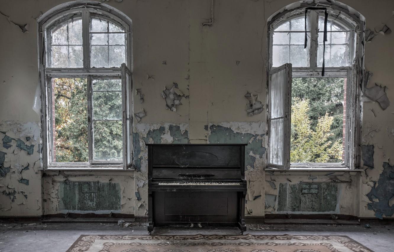 Фото обои комната, окна, пианино