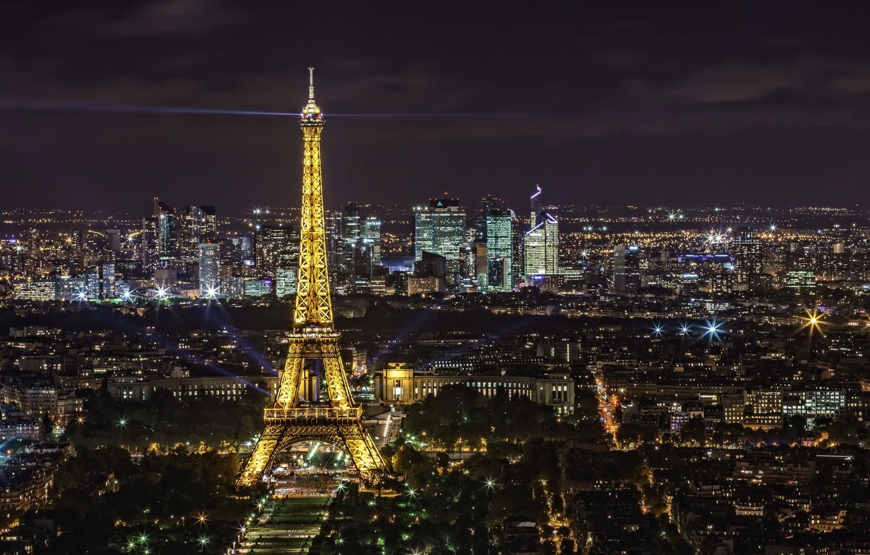 Фото обои ночь, огни, эйфелева башня, Франция, Париж, панорама