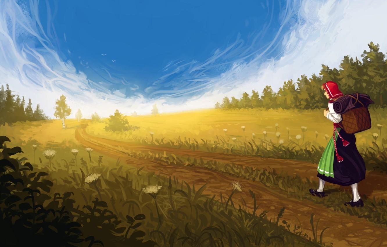 Фото обои дорога, поле, лес, небо, девушка, облака, цветы, арт