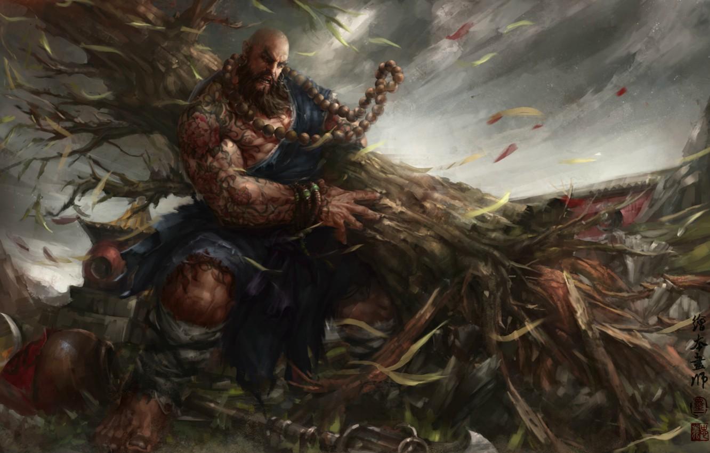 Фото обои Muscle, power, man, monk, shuihu