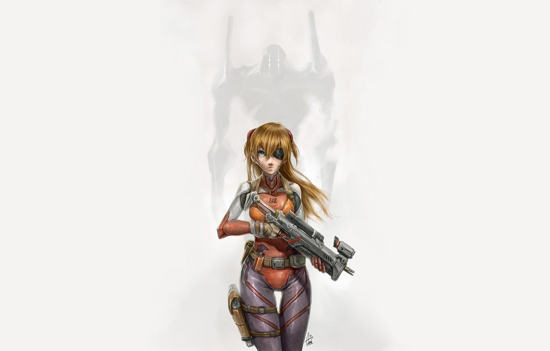 Фото обои девушка, оружие, костюм, Ева, Neon Genesis Evangelion, простой фон, Asuka Langley