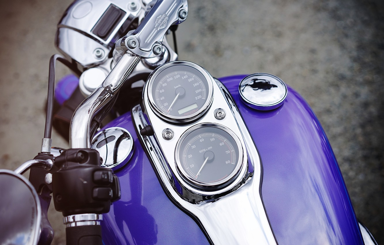 Фото обои спидометр, мотоцикл, Harley, байк, бак