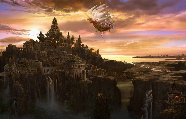 Фото обои облака, мост, город, замок, корабль, башня, водопад, арт, паруса, ucchiey, kazamasa uchio, летучий
