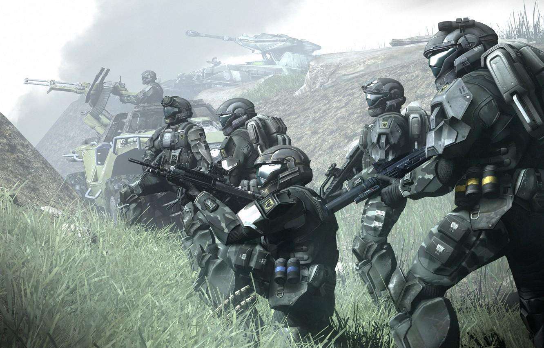 Фото обои туман, фантастика, солдаты, броня, odst, halo, доспех