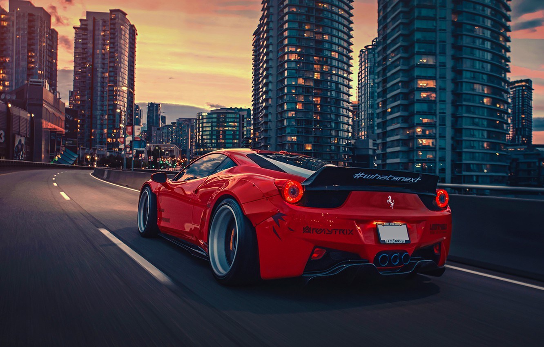 Фото обои City, Ferrari, Red, 458, Body, Italia, Rear, Kit, Liberty, Walk