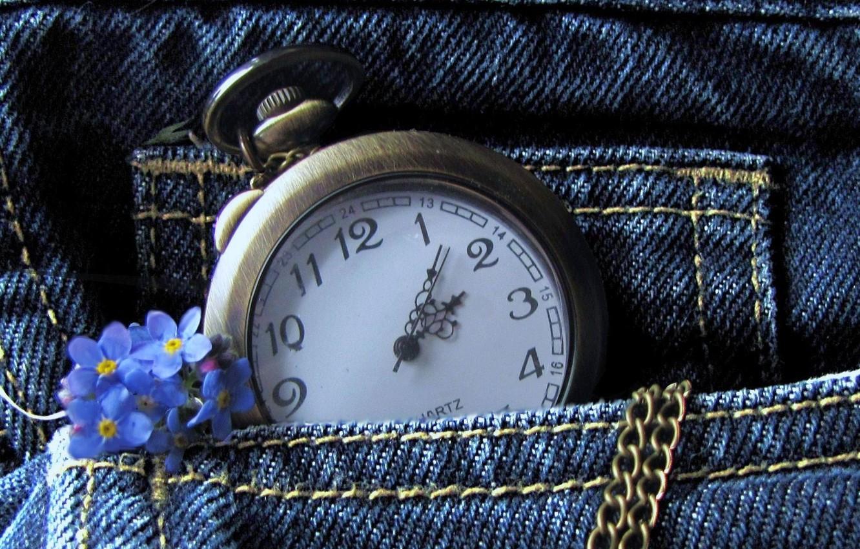 Фото обои цветы, часы, джинсы, цепочка, карман