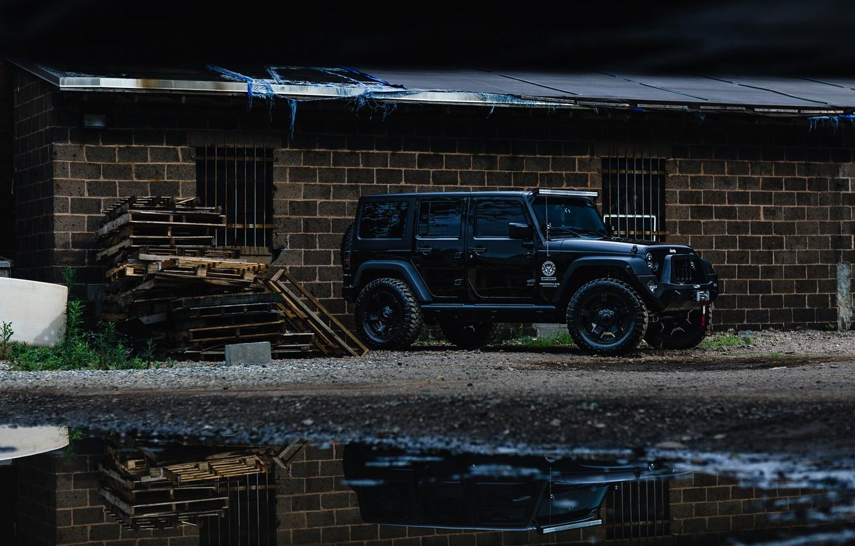 Фото обои car, black, jeep, wrangler, unlimited, внедорожние