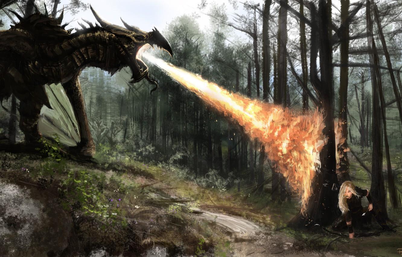 Фото обои лес, девушка, огонь, дракон, арт, битва, прячется, Skyrim