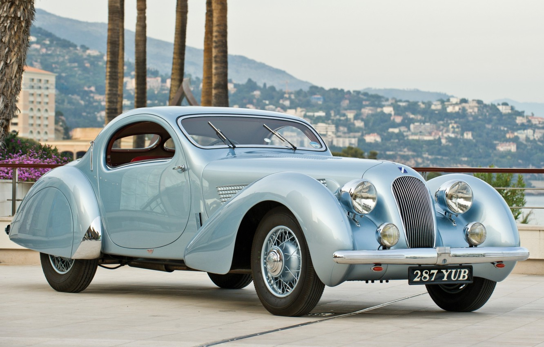 Фото обои ретро, панорама, передок, 1938, T23, Talbot-Lago, Талбот, Teardrop Coupe, by Figoni & Falaschi