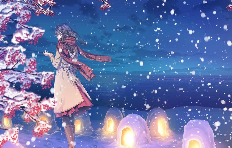 Фото обои зима, небо, девушка, облака, снег, природа, аниме, шарф, арт, фонарики, yuca