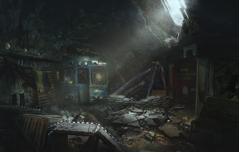 Фото обои темнота, метро, фантастика, поезд, Lost checkpoint