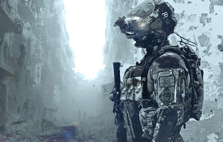 Фото обои солдат, костюм, развалины, шлем, special forces
