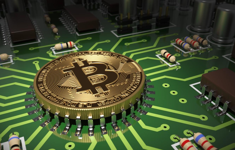 Фото обои абстракция, зеленый, микросхема, цвет, деньги, плата, дорожки, арт, центр, монета, процессор, боке, золотая, wallpaper., bitcoin, …