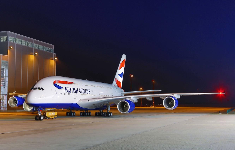 Фото обои Небо, Огни, Ночь, Аэропорт, Sky, Lights, Night, A380, Airbus, Airport, British Airways