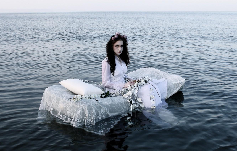 Фото обои море, девушка, ситуация, невеста