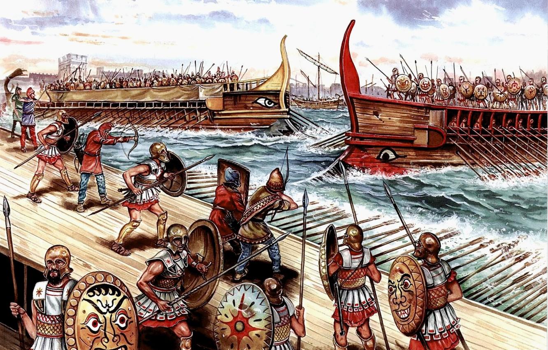 Фото обои война, рисунок, арт, битва, гавани, щиты, копья, лучники, луки, триеры, пращники, Сиракуз, 413 г.до н.э., …