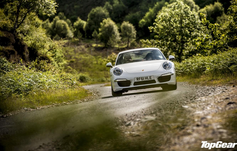 Фото обои дорога, белый, трава, деревья, 911, Porsche, Top Gear, суперкар, передок, самая лучшая телепередача, высшая передача, …