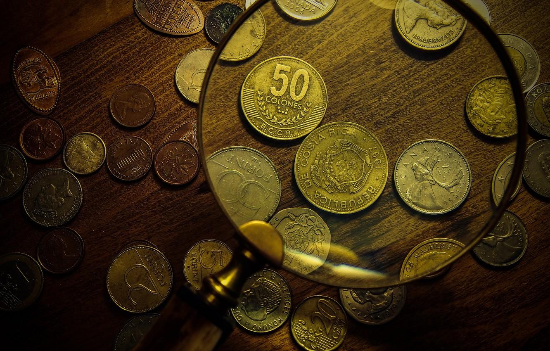 Фото обои макро, деньги, монеты, валюта, увеличилка